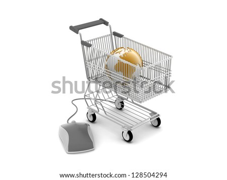E-shopping - shopping cart, computer mouse and earth globe