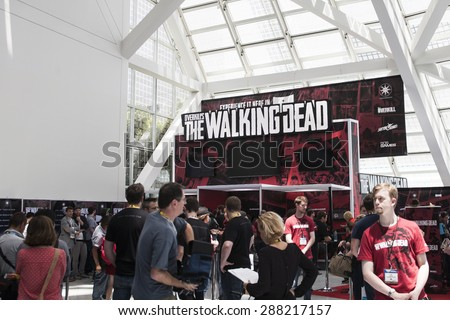 E3; The Electronic Entertainment Expo at the Los Angeles Convention Center, June 16, 2015. Los Angeles, California. The Walking Dead game testing and demo booth.