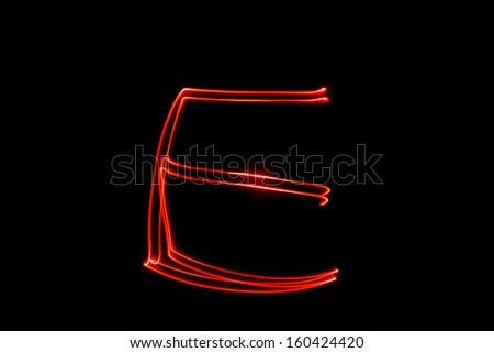 E - torch light alphabet letters - stock photo