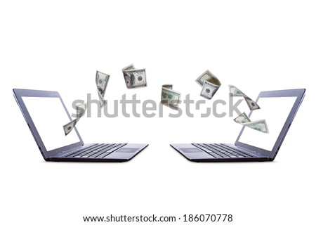 Each laptop transferring online one hundred dollar banknotes money, side view, isolated on white background. - stock photo