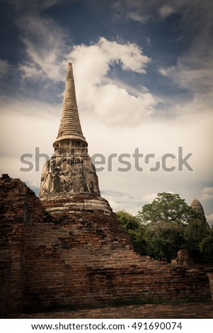 Each place of Ayutthaya historic park has its own outstanding spot. photos are taken on 1 October 2016 at Ayutthaya historic, Ayutthaya, Thailand. Tone image are applied to the photos.