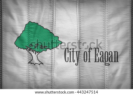 Eagan ,Minnesota flag pattern on synthetic leather texture, 3d illustration style