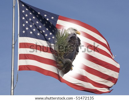 Eagle and the American flag representing freedom. - stock photo