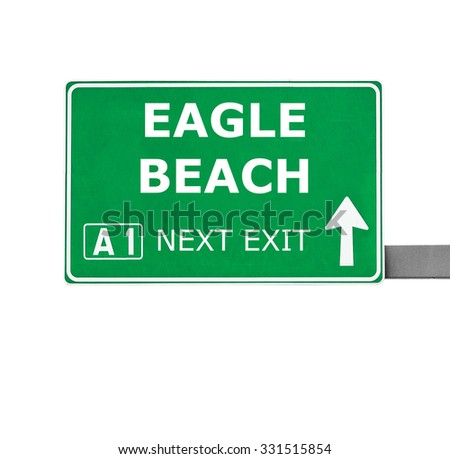 EAGLE BEACH road sign isolated on white