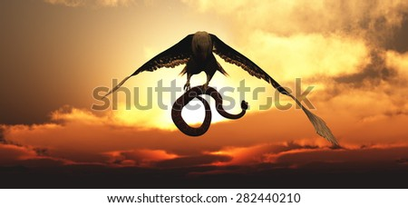 Eagle flying in the clouds at dawn and snake - stock photo