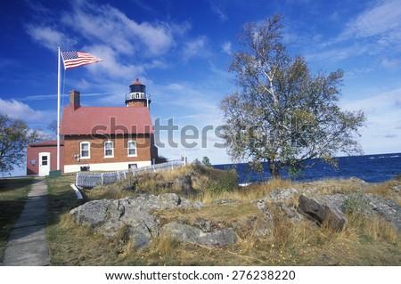 Eagle Harbor Lighthouse on the Upper Peninsula, MI - stock photo