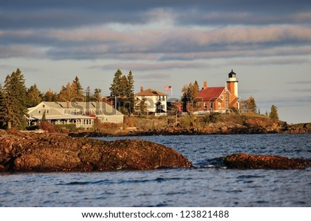 Eagle Harbor Lighthouse Sunrise Michigan's Upper Peninsula - stock photo