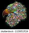 Eagle Hawk Psychedelic Design - stock vector