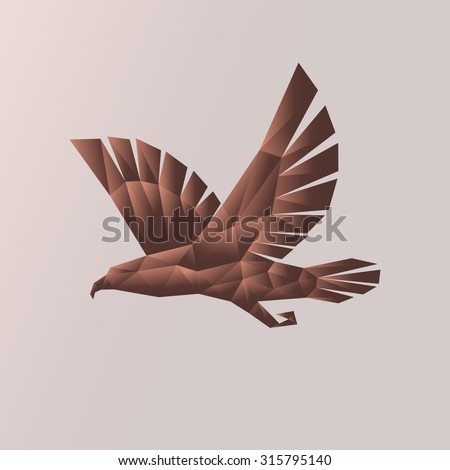 Eagle isolated. The abstract image of an eagle in flight in the art Triangle of different size with brown gradient fill. Profile of a flying eagle, hawk, vulture, a bird of prey. - stock photo