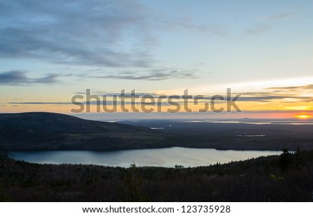 Eagle Lake at sunset from Cadillac Mountain in Acadia National Park in Maine - stock photo