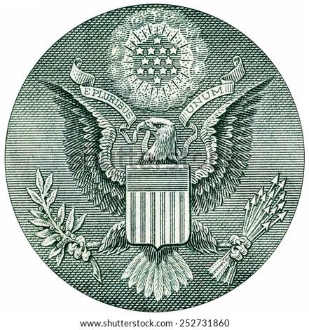Eagle on $1 U.S. dollar bill. - stock photo