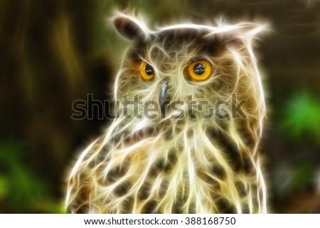 Eagle Owl portrait, applied fractal effect - stock photo