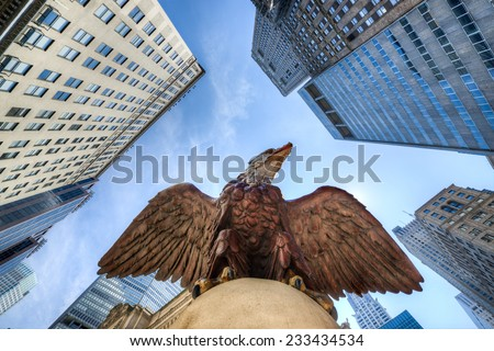 Eagle Statue perched over Grand Central Terminal, New York - stock photo