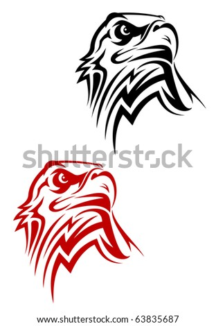 Eagle symbol isolated on white for design - also as emblem or logo template. Vector version also available in gallery - stock photo