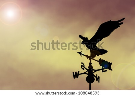 Eagle weather vane in a beautiful sky