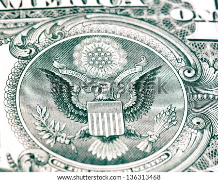 eagle with a dollar bill. Symbol of American independence