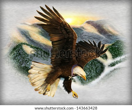 Eagle with Cross - stock photo