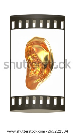 Ear gold 3d render isolated on white background. The film strip - stock photo