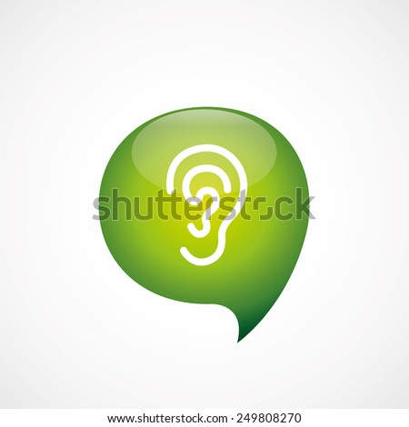 ear icon green think bubble symbol logo, isolated on white background