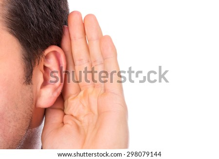 Ear listening secret isolated - stock photo