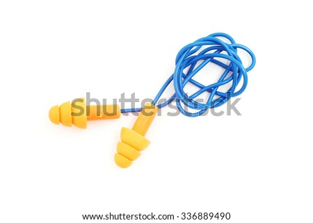 ear plugs with cord isolated on white background - stock photo