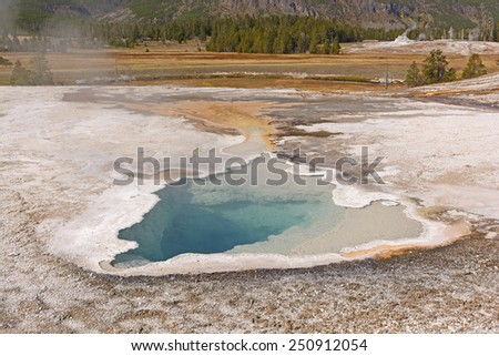 Ear Spring in the Upper Geyser Basin of Yellowstone National Park - stock photo
