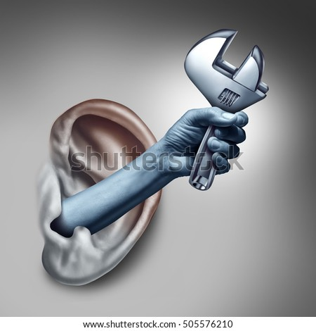 Ear therapy as a medicine medical concept as the hand of a doctor or health specialist treating the human hearing for auditory symptoms holding a wrench as a symbol with 3D illustration elements.