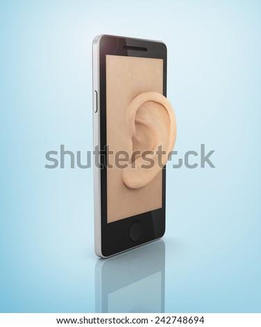 Ear to the phone screen. Listen concept. - stock photo