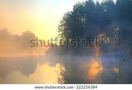 earlier morning on the river - stock photo