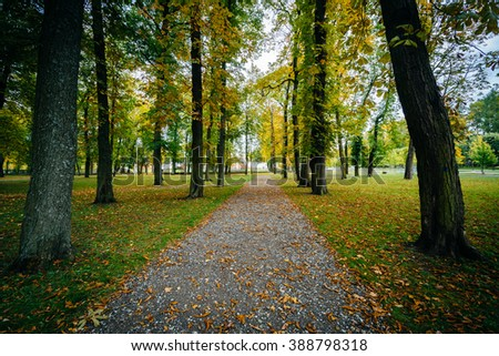 Early autumn color along a walkway seen at Kadrioru Park, in Tallinn, Estonia. - stock photo