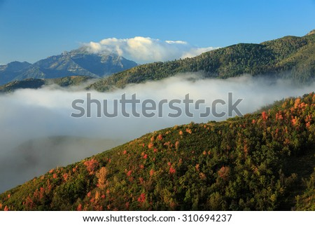 Early autumn landscape in the Wasatch Mountains, Utah, USA.