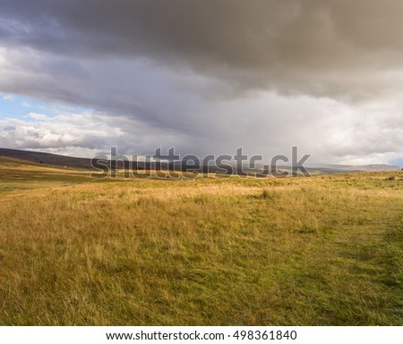 Early Autumn on moorland at Ribblehead, Settle, North Yorkshire, UK