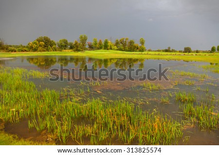 Early autumn scene in stormy weather  - stock photo