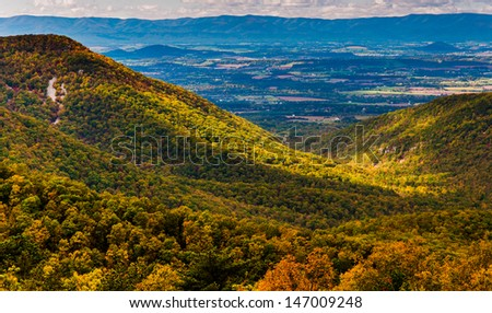 Early autumn view of the Shenandoah Valley, seen from Skyline Drive in Shenandoah National Park, Virginia. - stock photo