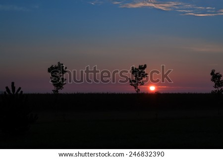 Early dawn in the field - stock photo