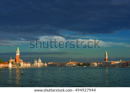 Early evening with sunset at amazing Venice, Italy, summer