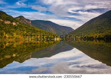 Early fall reflections at  Echo Lake, in Franconia Notch State Park, New Hampshire.