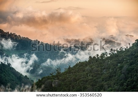 Early in the morning in cloud mountains sit down on tops, creating a fog, and are highlighted by the sun, getting unusual pink color. - stock photo