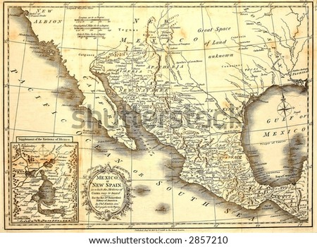Early map of Mexico, printed in London, 1821. - stock photo