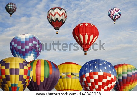 Early Morning Accession Of Hot Air Balloons   - stock photo