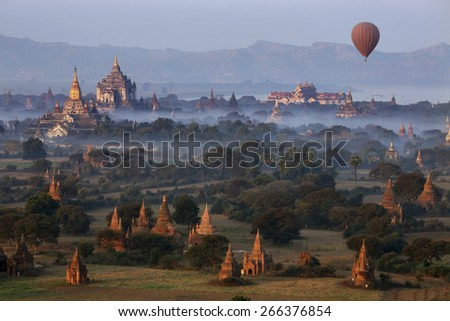 Early morning aerial view of the temples of the Archaeological Zone near the Irrawaddy River in Bagan in Myanmar (Burma). - stock photo