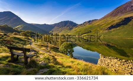 Early morning at Buttermere, The Lake District, Cumbria, England - stock photo