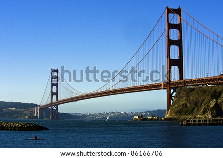 Early morning at golden gate bridge - stock photo