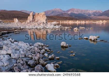 Early morning at Mono Lake and it's famous tufa formations. California. - stock photo
