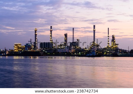 Early morning at Oil & Petroleum refinery in Bangkok, Thailand
