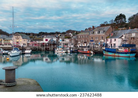Early morning at Padstow harbour a small fishing port in Cornwall - stock photo
