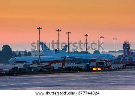 Early morning at the airport - stock photo