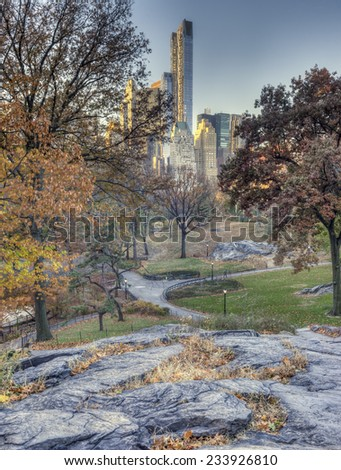 Early morning Central Park, New York City in late autumn - stock photo