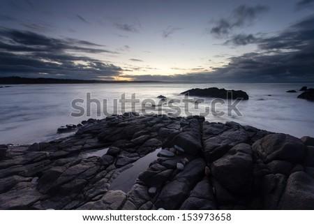 early morning, east cape cape conran, victoria - stock photo