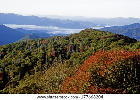 Early morning fall vista in the Great Smoky Mountains - stock photo